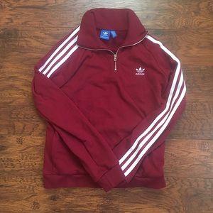 Adidas burgundy quarter zip pullover sweatshirt